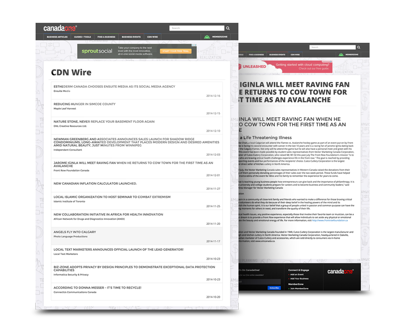 Press Releases on CDN Wire